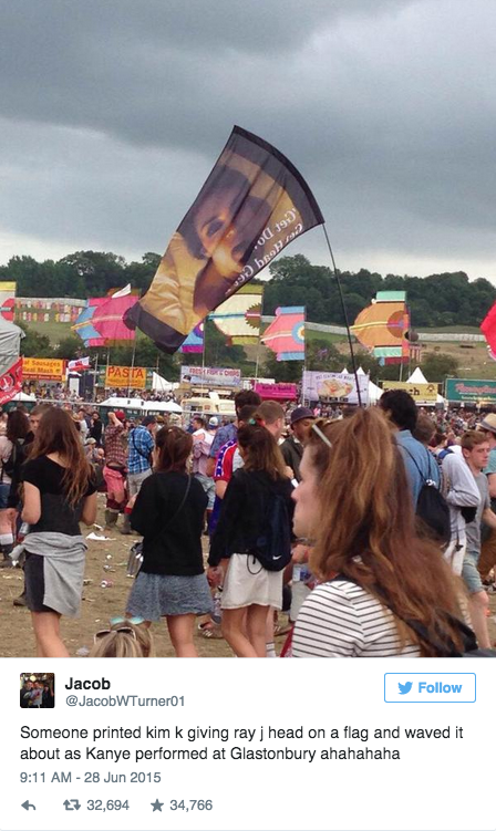 Kim Kardashian sex tape flag Glastonbury