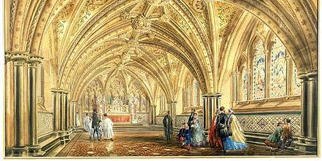 ouses of Parliament, St Stephen's Crypt - Watercolour by Edward M. Barry c.1863 (WOA 1601)