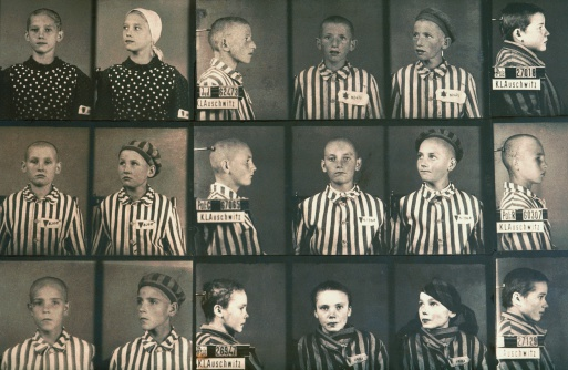 Photos of Jewish children in Auschwitz concentration camp museum (UNESCO World Heritage List, 1979), Poland