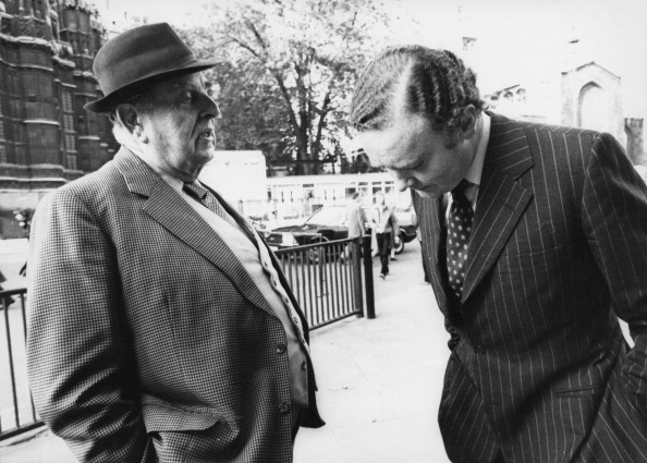 English actor Robert Morley (1908 - 1992, left) with British Conservative politician and MP for Chester, Peter Morrison (1944 - 1995) outside the House of Commons, London, 23rd October 1979. (Photo by Colin Davey/Evening Standard/Hulton Archive/Getty Images)