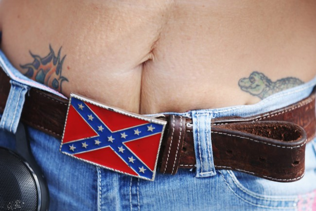 LOXAHATCHEE, FL - JULY 11:  A Confederate flag beltbuckle is seen during a rally to show support for the American and Confederate flags on July 11, 2015 in Loxahatchee, Florida. Organizers of the rally said that after the Confederate flag was removed from South Carolinas State House it reinforced their need to show support for the Confederate flag which some feel is under attack.  (Photo by Joe Raedle/Getty Images)