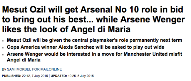 daily mail angel di maria arsenal transfer