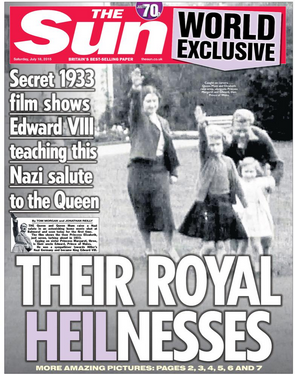 Queen giving Nazi salute