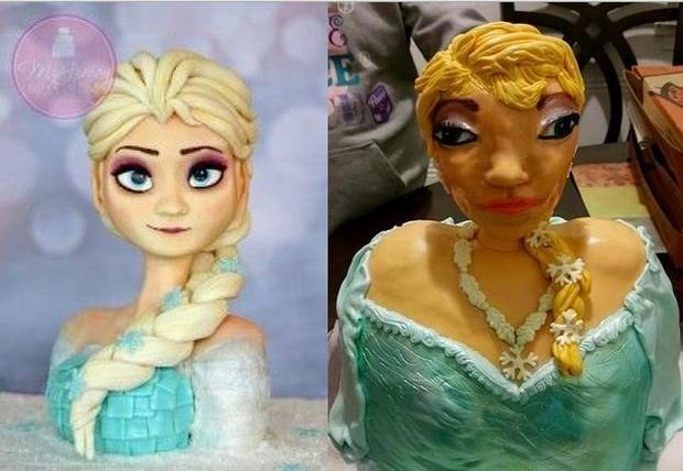 Elsa frozen cake terrible