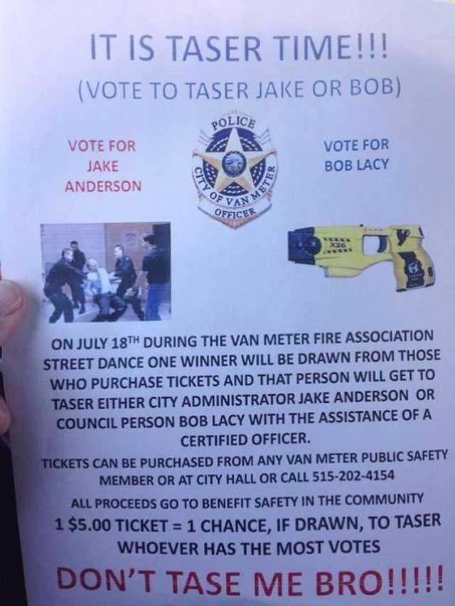 iowa taser police contest raffle