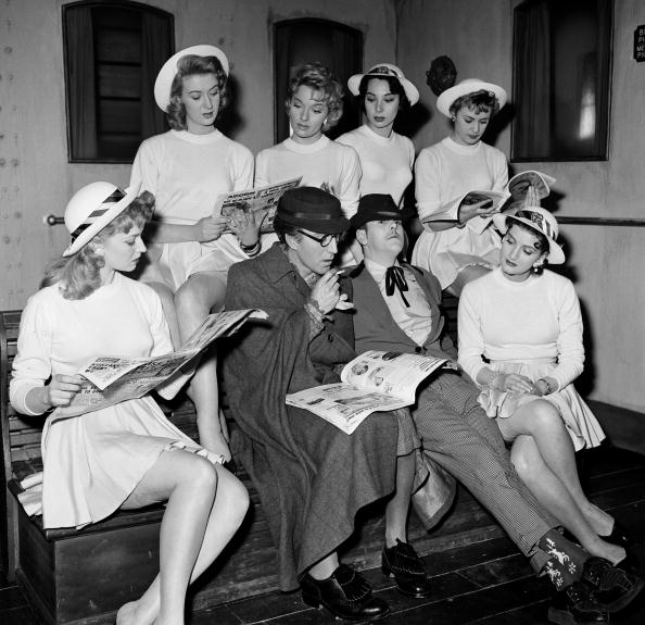 "Stage & Screen, Shepperton Studios, England, 1957, Some of the cast of the film ""Blue Murder at St, Trinians"", Actors include, Vicki Hammond, Jose Read, Lisa Gastoni, Marigold Russell, Dilys Haye, Rosalind Knight, Lionel Jefferies and George Cole  (Photo by Popperfoto/Getty Images)"