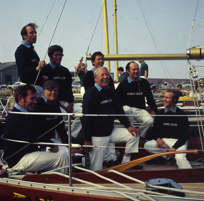 July 1971:  British Prime Minister Edward Heath, skipper of the British team for the Admiral Cup Series with his team aboard the yacht 'Morning Cloud' at Southsea, Hampshire.  (Photo by James Jackson/Express/Getty Images)