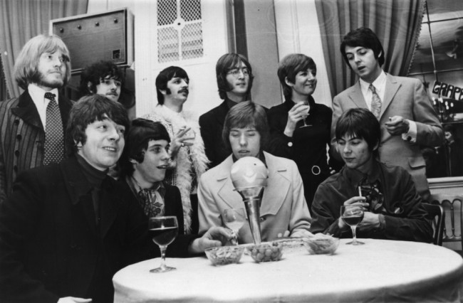 19th January 1968:  A press conference attended by (from left) Brian Jones, Donovan, Ringo Starr, John Lennon, Cilla Black and Paul McCartney to launch the pop group 'Grapefruit', whose records will be released on the Beatles Apple label. 'Grapefruit' are (from left) George Alexander, Pete Swettenham, Geoffrey Swettenham and John Perry.  (Photo by Keystone/Getty Images)