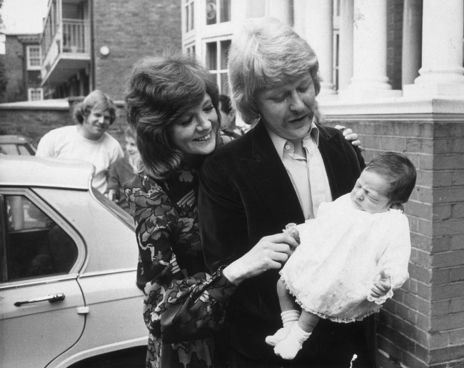 6th August 1970:  Pop singer and TV star Cilla Black with her husband and manager Bobby Willis and their baby.  (Photo by Evening Standard/Getty Images)