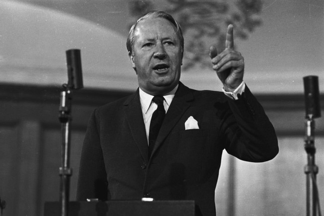 28th February 1970:  The Leader of the Conservative Party, Mr Edward Heath, speaking at the Conservative Local Government Conference in Westminster.  (Photo by Central Press/Getty Images)