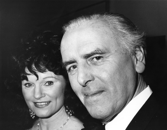 5th March 1985:  British actor George Cole with wife Penny at the BAFTA awards ceremony.  (Photo by John Gooch/Keystone/Getty Images)