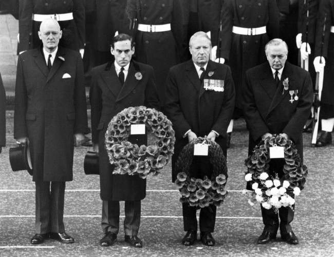13th November 1967:  From left to right, the Lord Chancellor, Lord Gardiner; Liberal Party leader Jeremy Thorpe; Conservative Party leader Edward Heath; and British prime minister Harold Wilson, at the Remembrance Day service at the Cenotaph, Whitehall, London.  (Photo by Central Press/Getty Images)