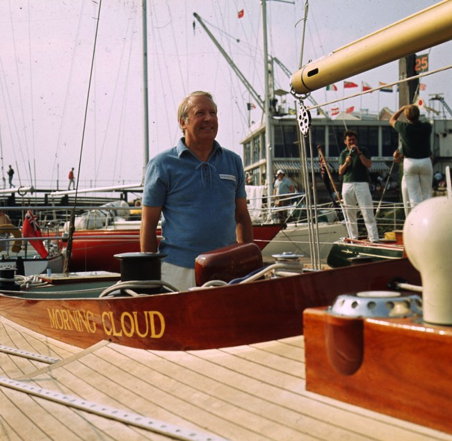 1971:  British statesman and prime minister Edward Heath aboard his yacht Morning Cloud at Gosport, Hampshire, before the Admiral's Cup race.  (Photo by James Jackson/Express/Getty Images)