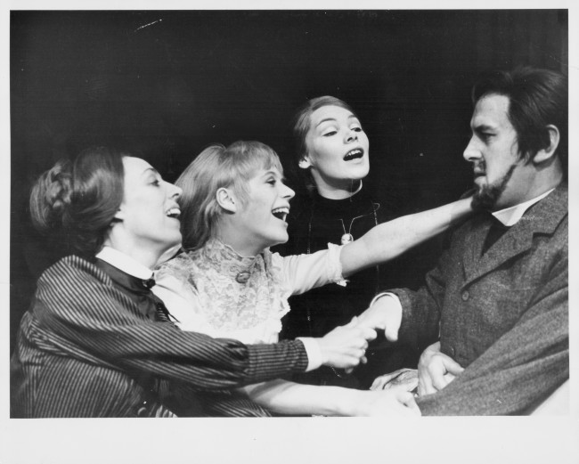 (L-R) Actors Marianne Faithfull, Avril Elgar, Glenda Jackson and George Cole, in a scene from the play 'Three Sisters', at the Royal Court Theatre, London, 1967. (Photo by Central Press/Hulton Archive/Getty Images)