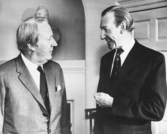 British Prime Minister Edward Heath (left) and General Secretary of the UN Kurt Waldheim, chatting at a luncheon, 10 Downing Street, London, April 10th 1972. (Photo by Central Press/Hulton Archive/Getty Images)