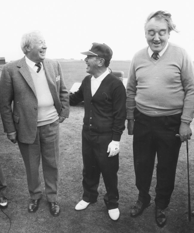 British Prime Minister Edward Heath (left) sharing a joke with his Japanese counterpart Kakuei Tanaka and Secretary of Northern Ireland William Whitelaw, during a round of golf at Royal St George's golf course, England, September 30th 1973. (Photo by Ian Tyas/Keystone/Getty Images)