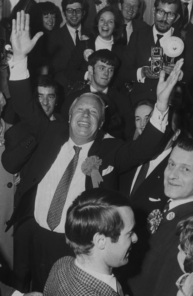 British statesman Edward Heath (1916 - 2005) celebrates the Conservative Party win in the General Election, and his own new position as Prime Minister, 19th June 1970. (Photo by David Cairns/Express/Hulton Archive/Getty Images)