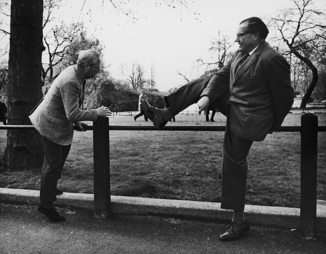 Conservative Party leader Edward Heath (1916 - 2005, left) and Shadow Chancellor Reginald Maudling (1917 - 1979) take a stroll in St James's Park, 28th March 1966. (Photo by Keystone/Hulton Archive/Getty Images)