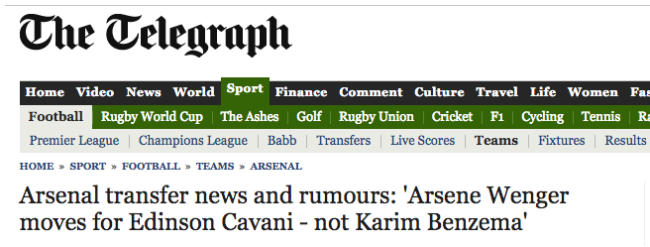 daily telegraph arsenal