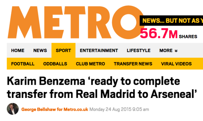 benzema arsenal transfer