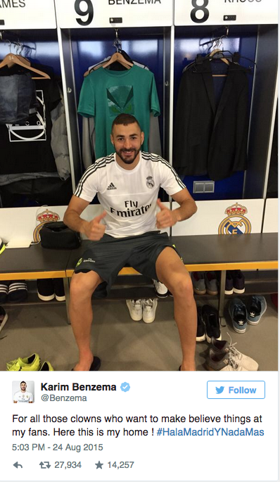 benzema arsenal laughs