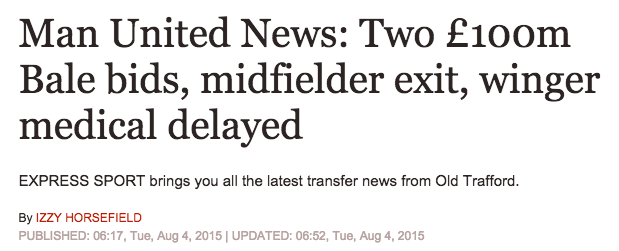 bale manchester united daily express