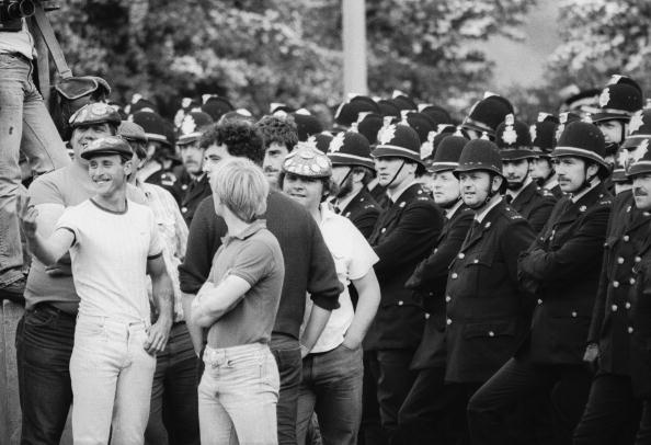 Police and miners at a demonstration at Orgreave Colliery, South Yorkshire, during the miners' strike, 2nd June 1984.  (Photo by Steve Eason/Hulton Archive/Getty Images)
