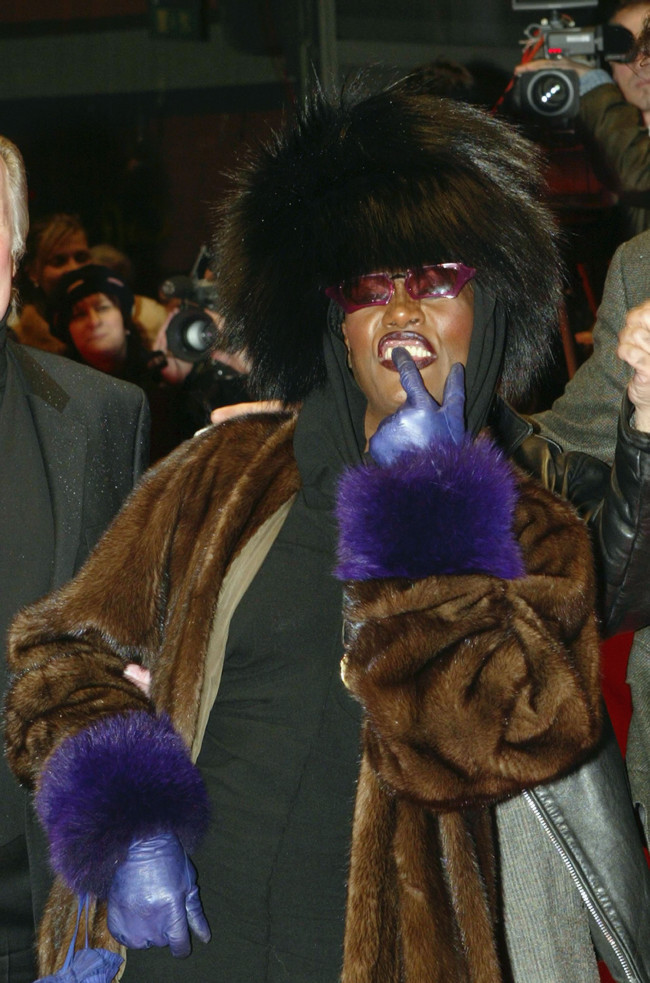 "BERLIN - FEBRUARY 7:  Singer and actress Grace Jones arrives for the screening of the new film ""The Missing""at the 54th annual Berlin International Film Festival  on February 7, 2004 in Berlin, Germany.  (Photo by Kurt Vinion/Getty Images)"