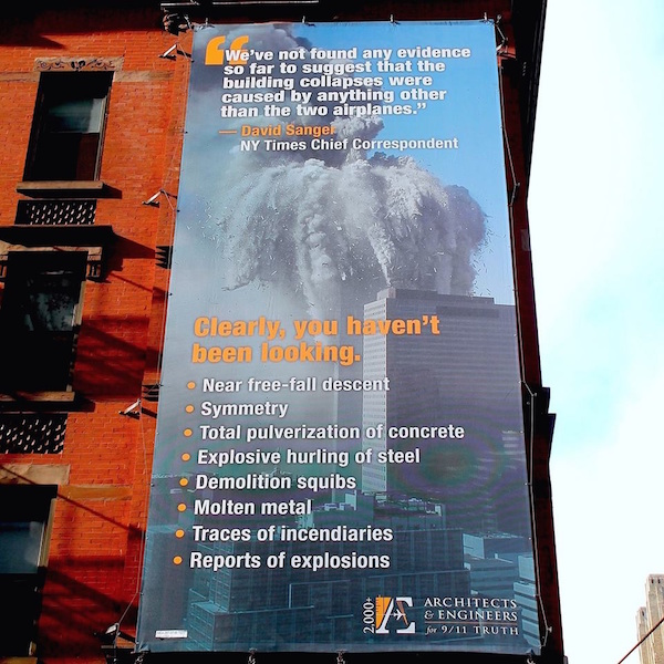 Architects & Engineers for 9/11 Truth Billboard Opposite New York Times Building