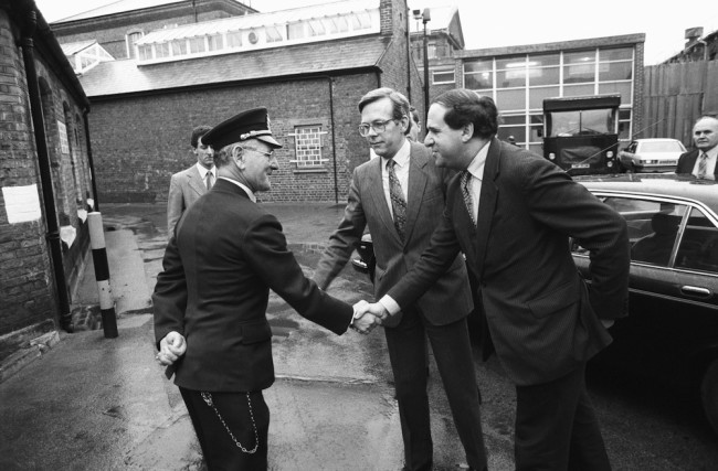 British home sectretary Leon Brittan visits a prison on January 11, 1984. (Photo by Mike Moore/Express/Getty Images)