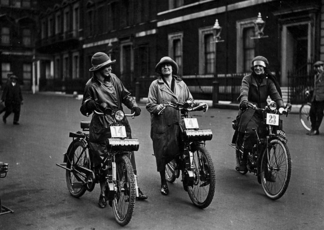 September 1923:  Three women waiting to start their midget motorcycle race.  (Photo by Topical Press Agency/Getty Images)