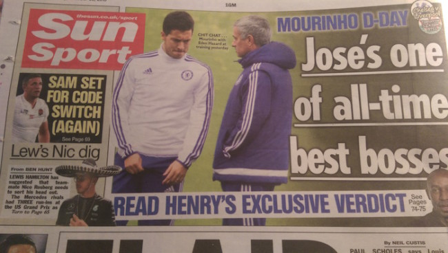 Jose Mourinho back pages