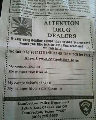 Lumberton police drugs Texas advert