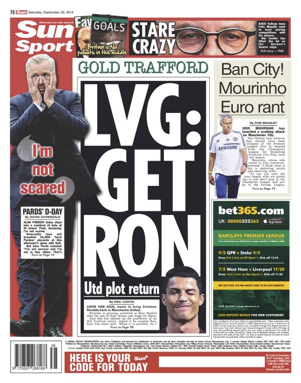 ronaldo manchester united the sun newspapers