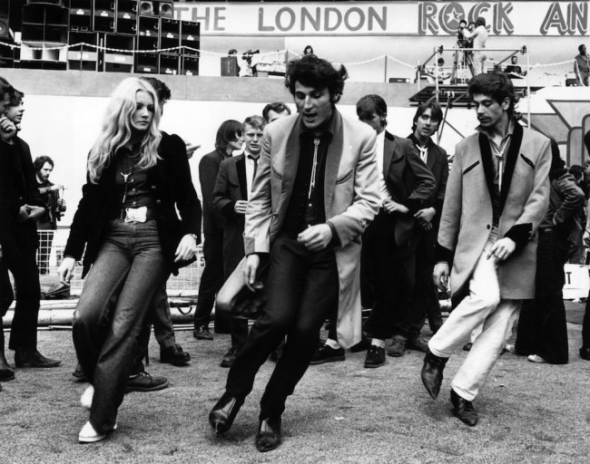 5th August 1972: A group of teddy boys dancing at the London rock 'n' roll revival show in Wembley Arena. (Photo by Michael Webb/Keystone/Getty Images)