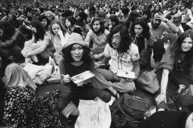 August 1972: Japanese hippies amongst the large crowd at the Rock 'n' Roll Festival at Wembley Stadium, London. Among them is Mei Wei. (Photo by Evening Standard/Getty Images)