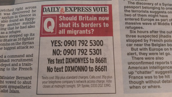 daily express mirgrants