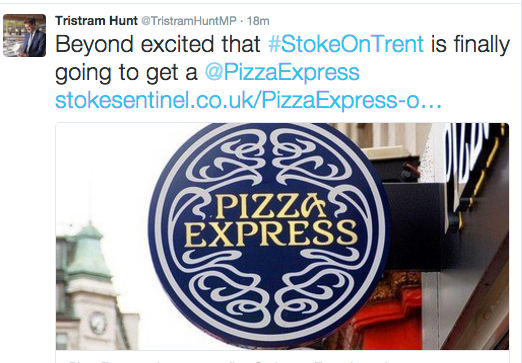 Tristram Hunt pizza expres