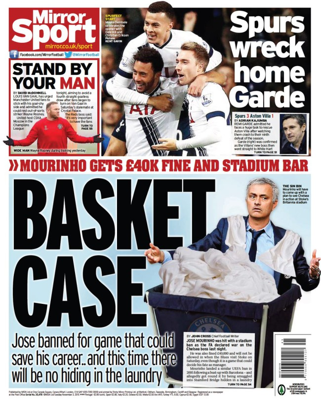 Mourinho mirror backpage