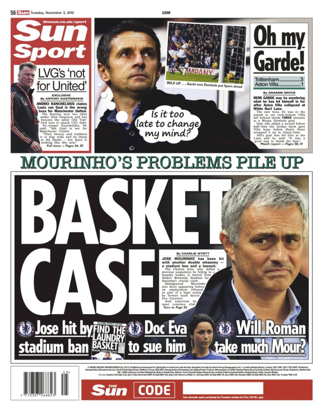 Jose Mouinho back pages the Mirror