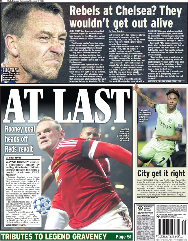 daily express john terry backpages