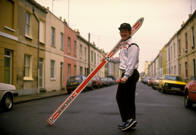 Undated: Ski Jumper Eddie Edwards of Great Britain poses for the camera during a feature in his home town of Cheltenham, England. Mandatory Credit: Allsport UK /Allsport