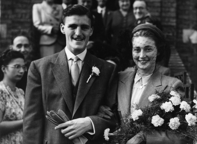 1st October 1949: Brentwood footballer Jimmy Hill with his bride Gloria Flude, a teacher. They were married at Balham Baptist Church, south London. (Photo by Douglas Miller/Keystone/Getty Images)