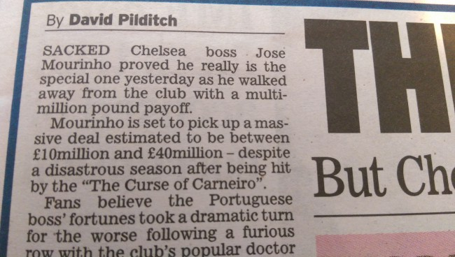 Jose Mourinho sacked money