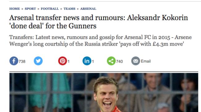 Arsenal transfer news and rumours: Aleksandr Kokorin 'done deal' for the Gunners