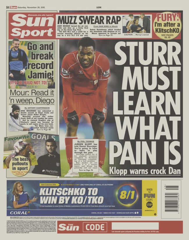 Klopp the sun injuries