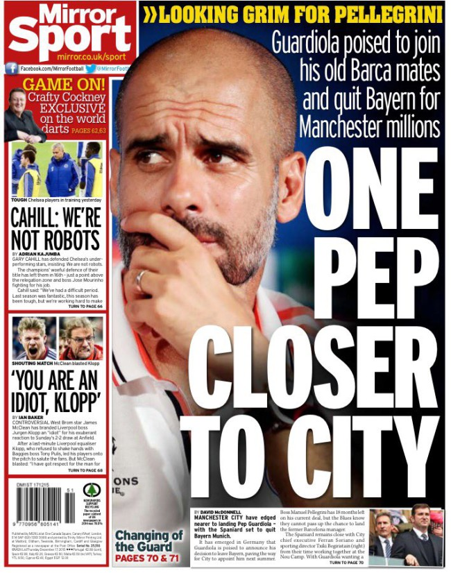 Guardiola daily mirror