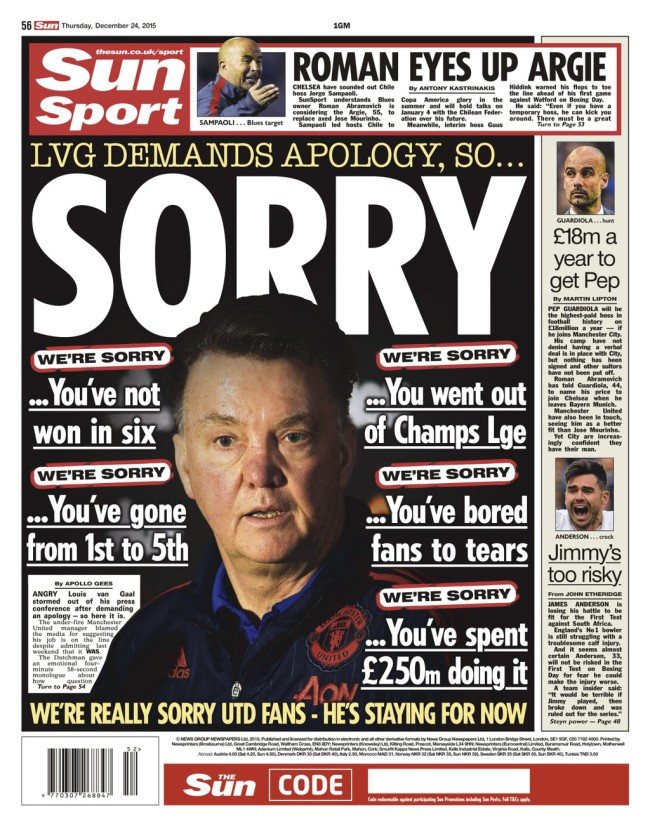 van gaal the sun sorry headline