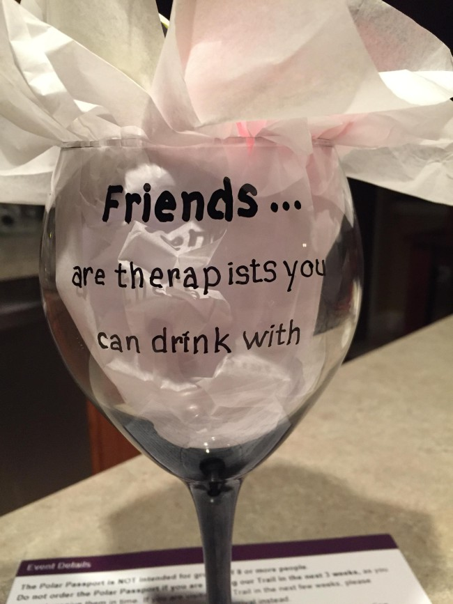 "A mom got a little crafty and decided to make her own wine glasses, complete with the pithy phrase, ""friends are therapists you can drink with"" written on them. What started as a fun experiment quickly turned unintentionally creepy. ""My mom made wine glasses to give to her friends for the holiday,"" explained redditor Shagen34. ""Her spacing was a little off on the first one."" With the correct spacing, they look a little more innocent. The handwritten font is still pretty creepy, though. But hey, it's a fairly common mistake, at least according to various buffoons on TV. [h/t Tech Insider 