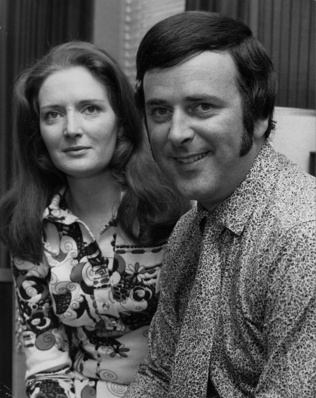 17th July 1970:  Ex-rugger player and radio personality, Terry Wogan, relaxes at home with his wife Helen.  (Photo by Chris Ware/Keystone Features/Getty Images)
